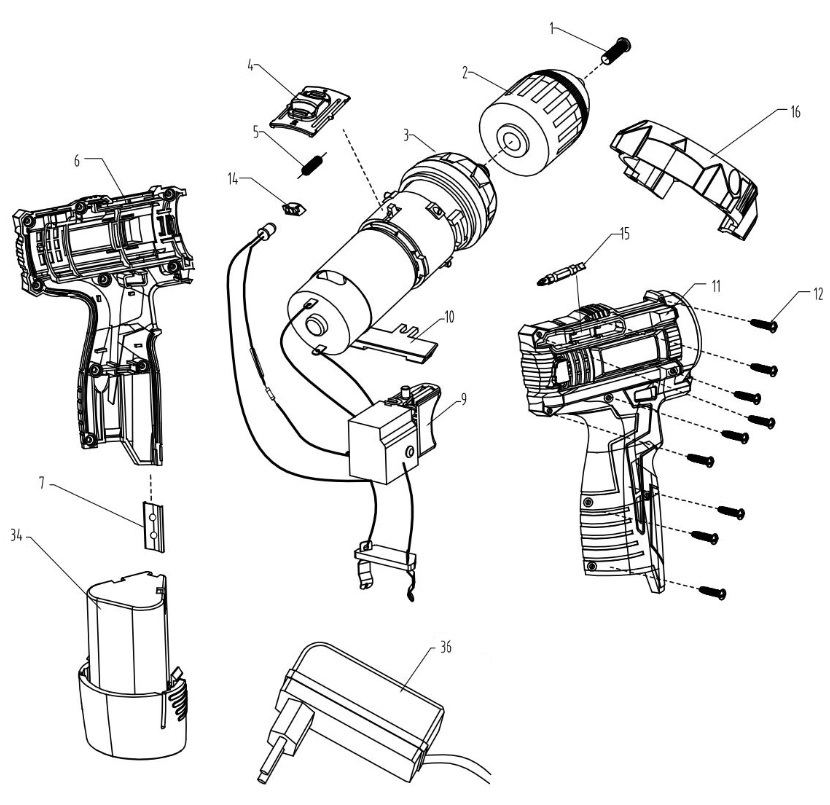 Деталировка на аккумуляторную дрель-шуруповерт WATT WAS-12Li-2 (1.012.027.12)