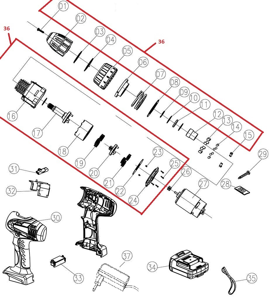 Деталировка на аккумуляторную дрель-шуруповерт WATT WAS-14Li-2 (1.014.029.12)