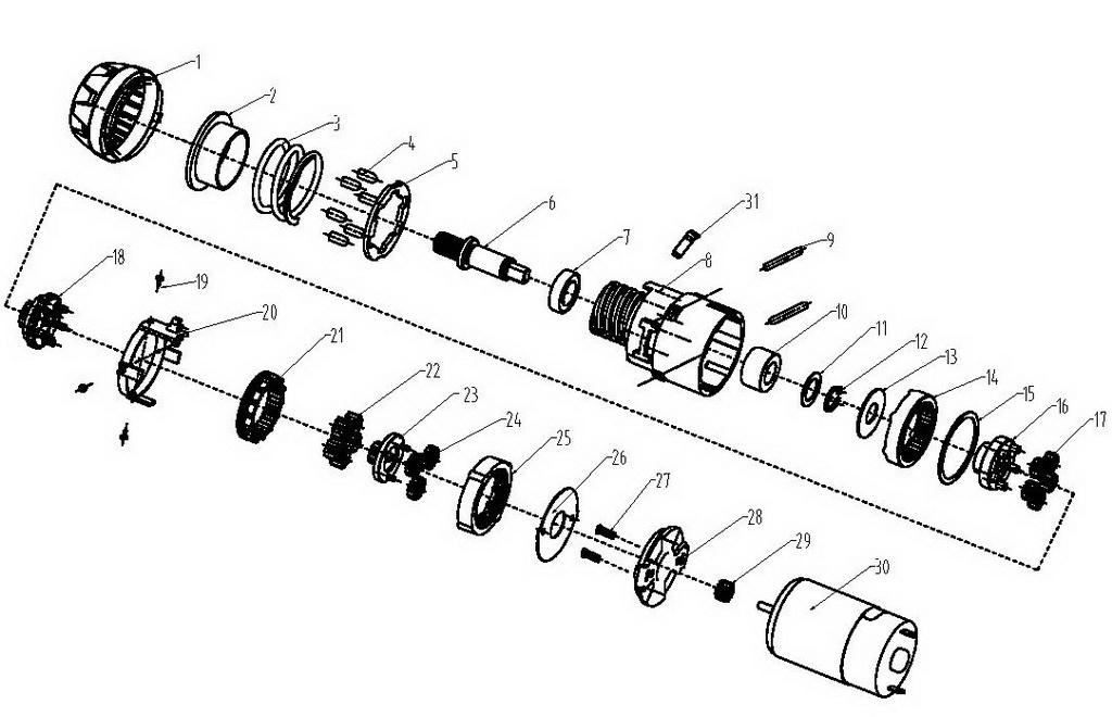 Деталировка на аккумуляторную отвертку WATT WAS-18Li (1.018.029.02)