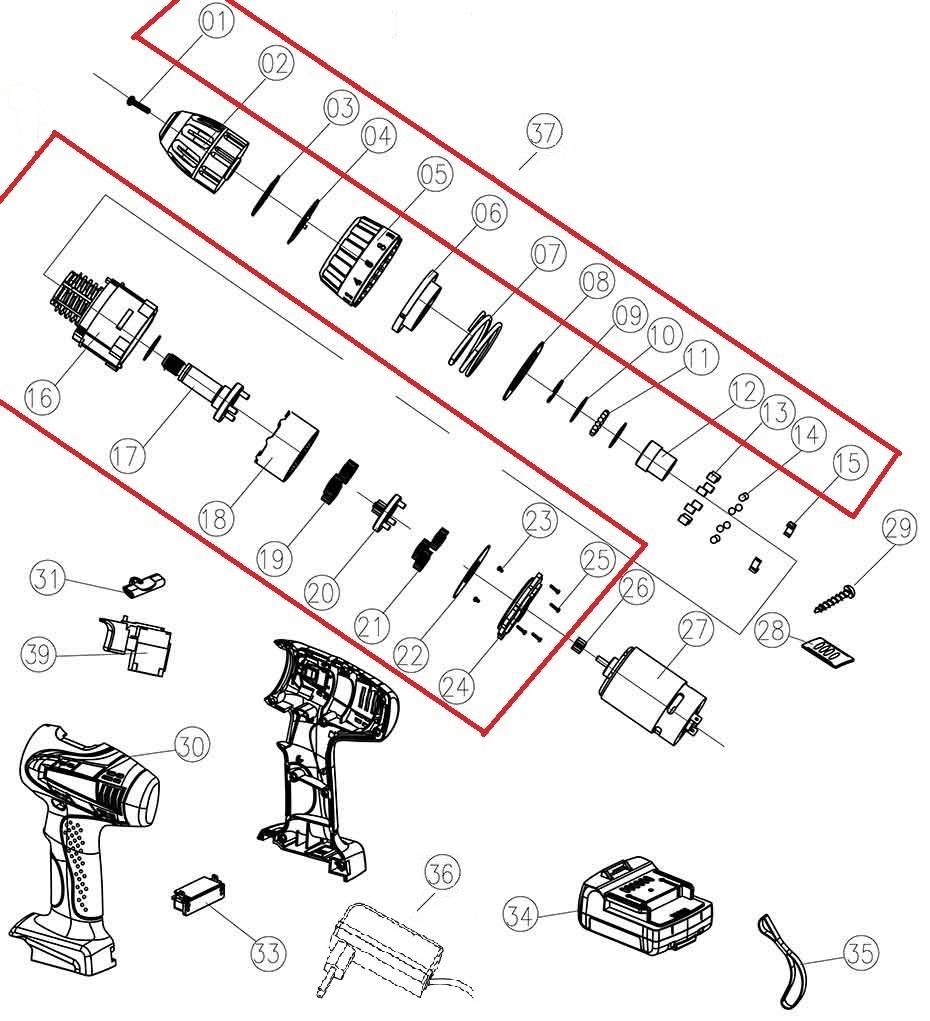 Деталировка на аккумуляторную дрель-шуруповерт WATT WAS-21Li-2 (1.021.031.12)