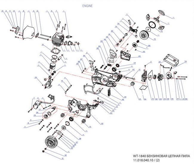 Деталировка на двигатель бензопилы WATT WT-1840 (11.018.040.10)