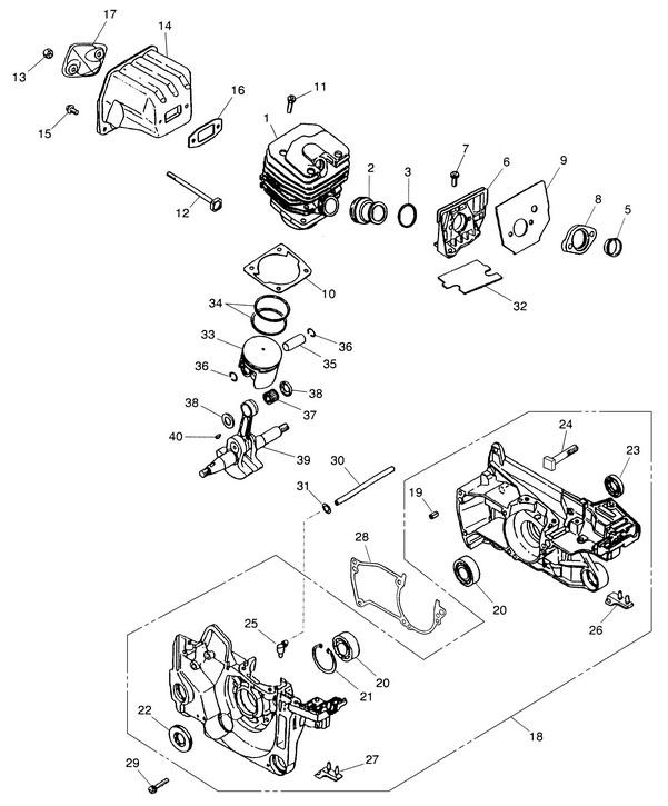 Деталировка на бензопилу (картер, поршневая группа) WATT WT-2245 (11.022.045.00)