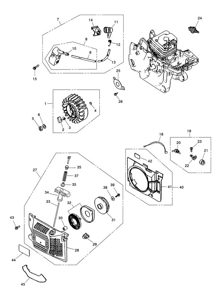 Деталировка на бензопилу (стартер, модуль зажигания, маховик) WATT WT-2245 (11.022.045.00)