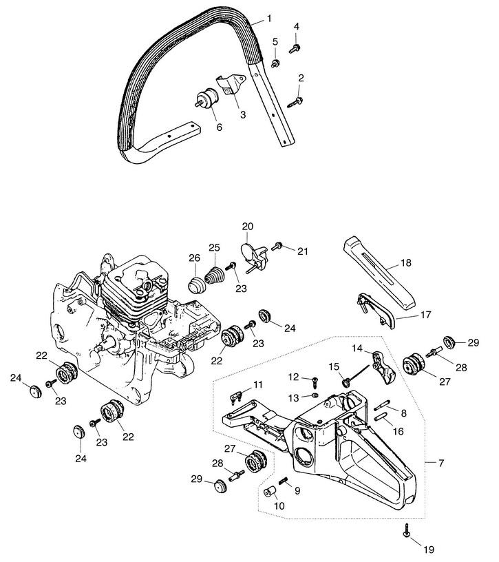 Деталировка на бензопилу (ручка, детали корпуса) WATT WT-2245 (11.022.045.00)