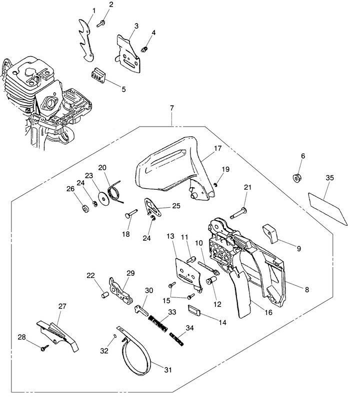Деталировка на бензопилу (тормоз цепи) WATT WT-2245 (11.022.045.00)