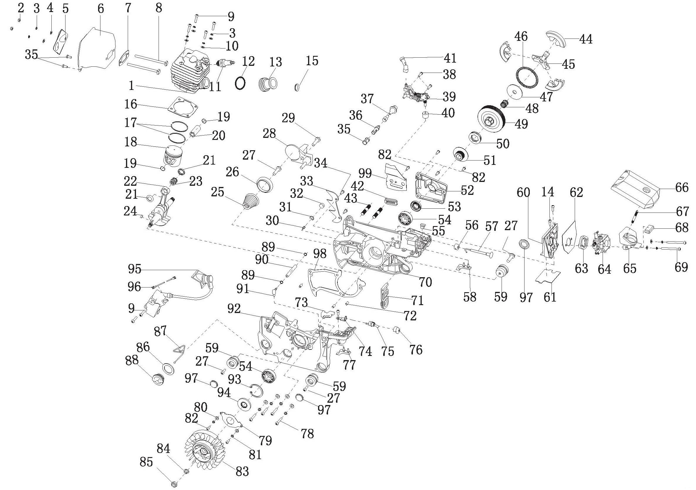 Деталировка на бензопилу (двигатель) WATT WT-2245 (11.024.045.00)
