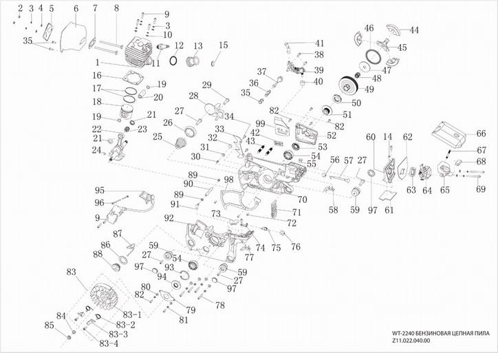 Деталировка на двигатель бензопилы WATT WT-2240 (Z11.022.140.00)