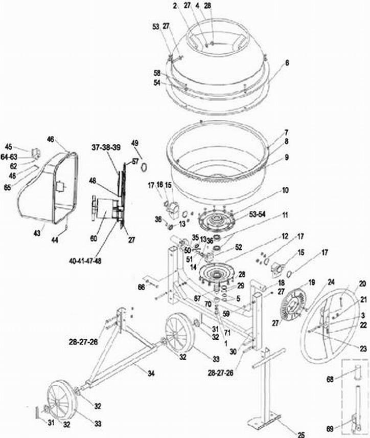 Деталировка на бетономешалку WATT WCL-140 (31.140.065.00)
