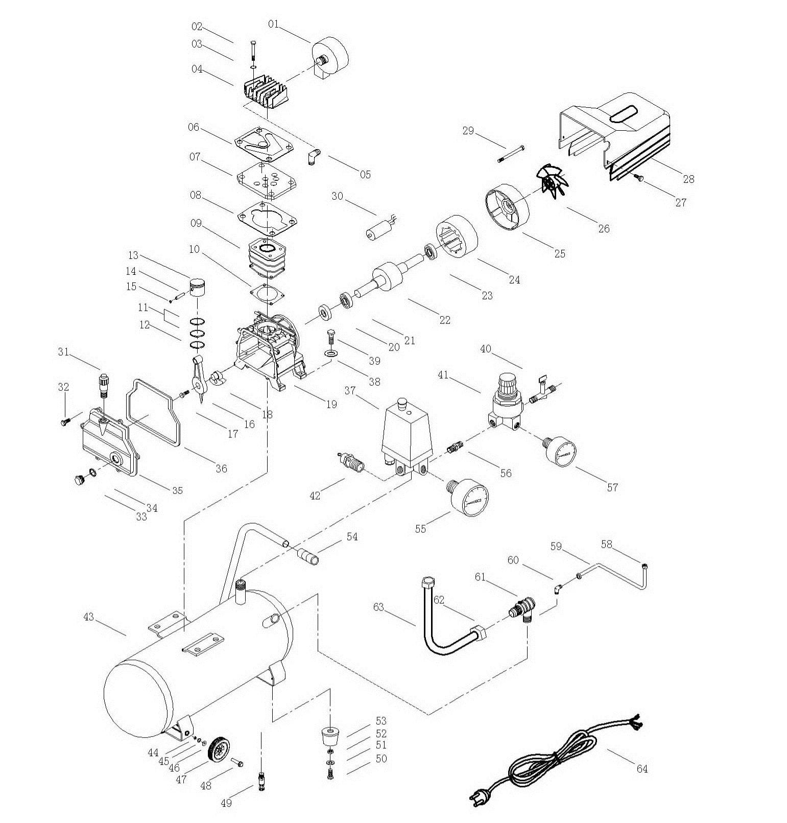 Деталировка на компрессор WATT WT-2150A (X10.214.500.00)
