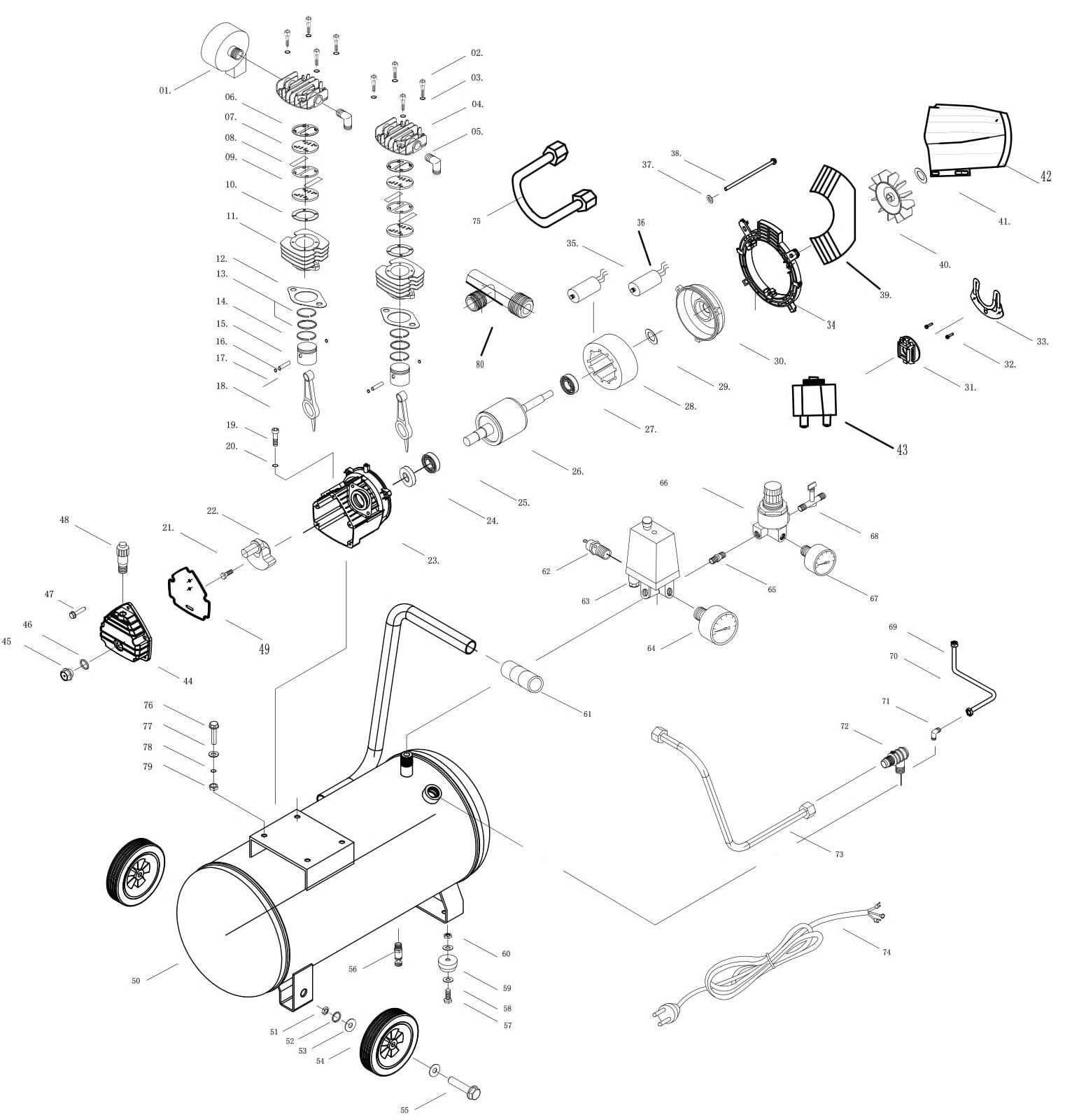 Деталировка на компрессор WATT WT-2070A (X10.214.700.00)
