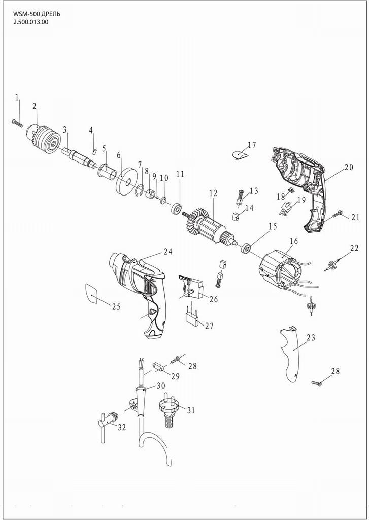 Деталировка на дрель WATT WSM-500 (2.500.013.00)