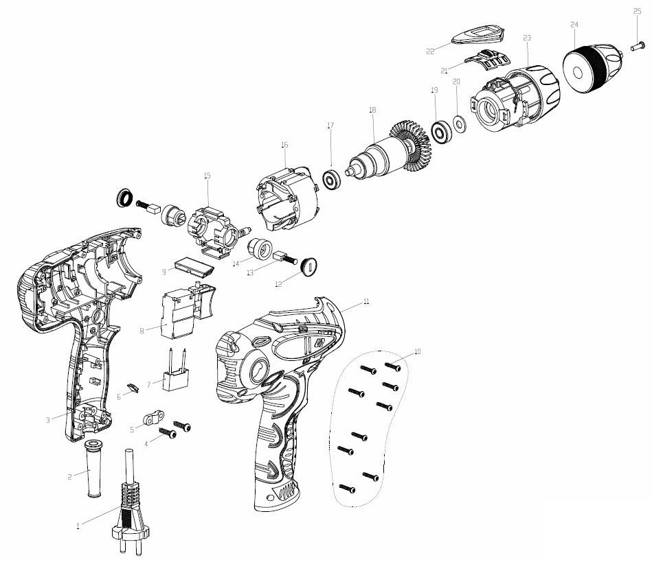 Деталировка на дрель ударную WATT WSM-600 (2.600.010.10)
