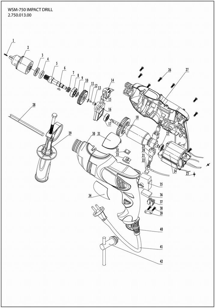 Деталировка на дрель WATT WSM-750 (2.750.013.00)