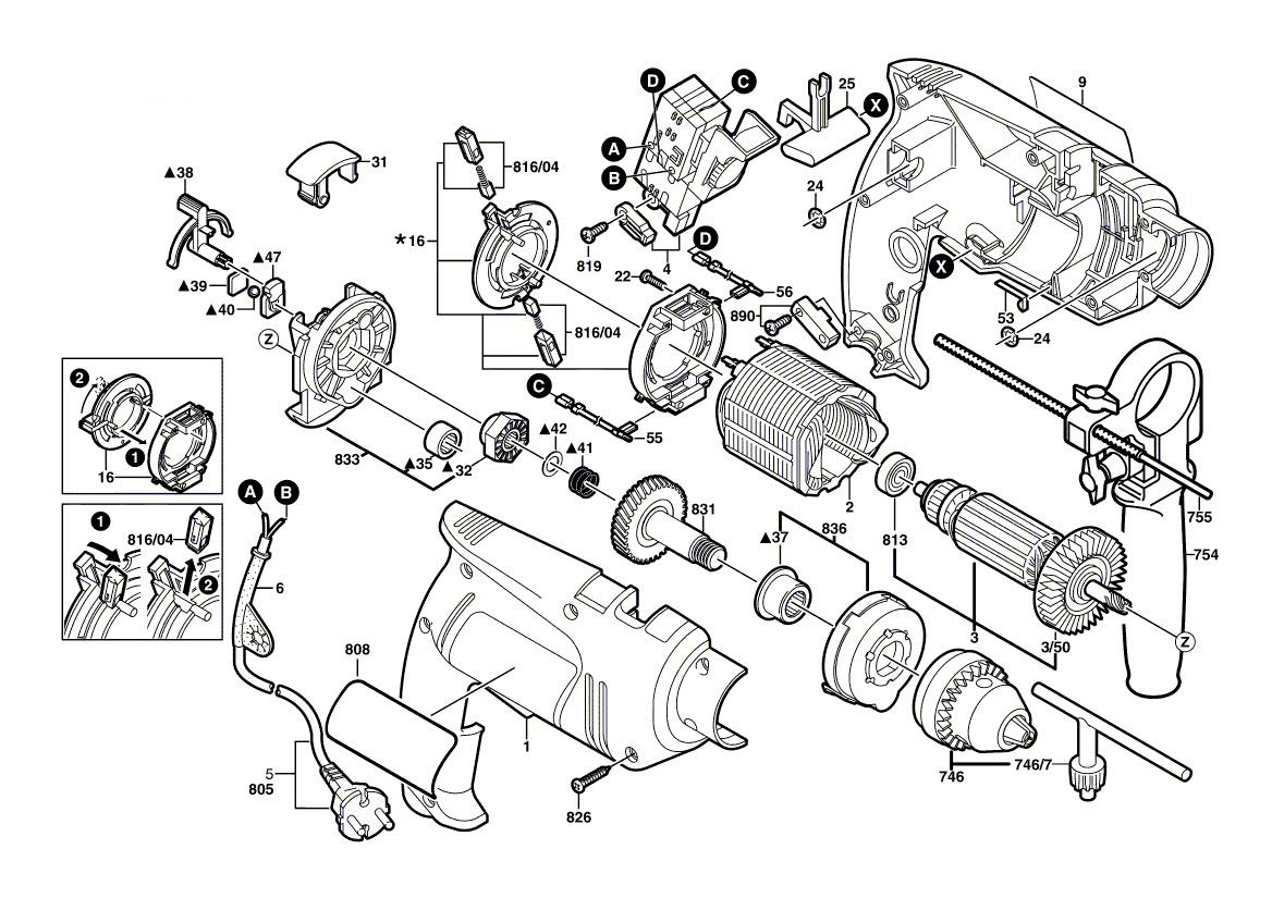Деталировка на дрель WATT WSM-750 (2.750.013.10)
