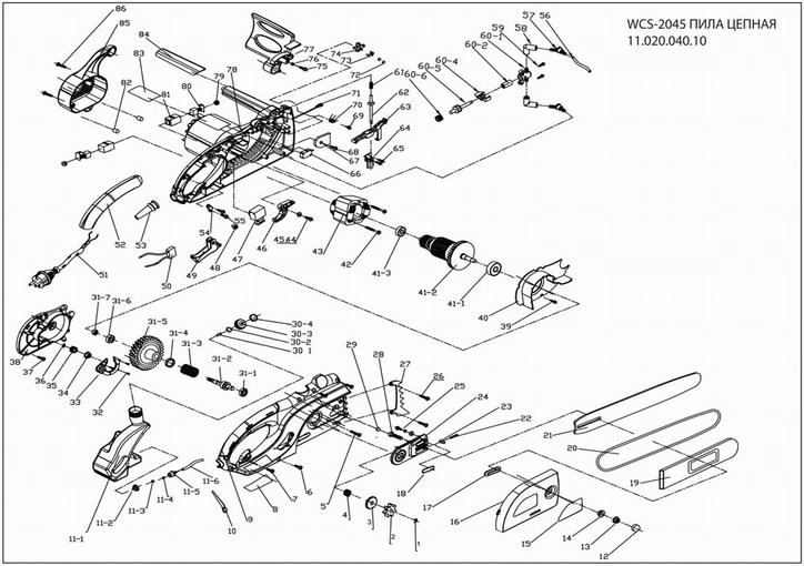 Деталировка на электропилу WATT WCS-2045 (11.020.040.10)