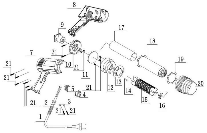 Деталировка на фен технический WATT WHP-2000 (7.020.000.00)