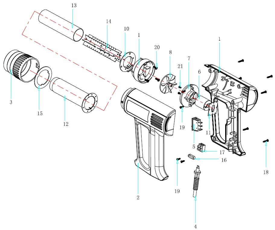 Деталировка на фен технический WATT WHP-2020 (7.020.002.11)
