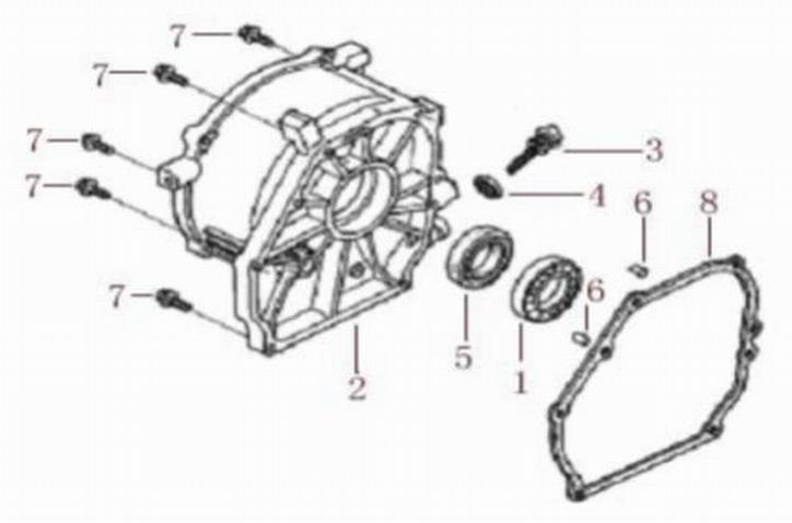 Деталировка на крышку картера генератора WATT WT-2500 (9.025.015.00)
