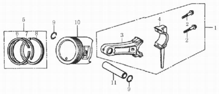 Деталировка на поршень и шатун генератора WATT WT-2500 (9.025.015.00)