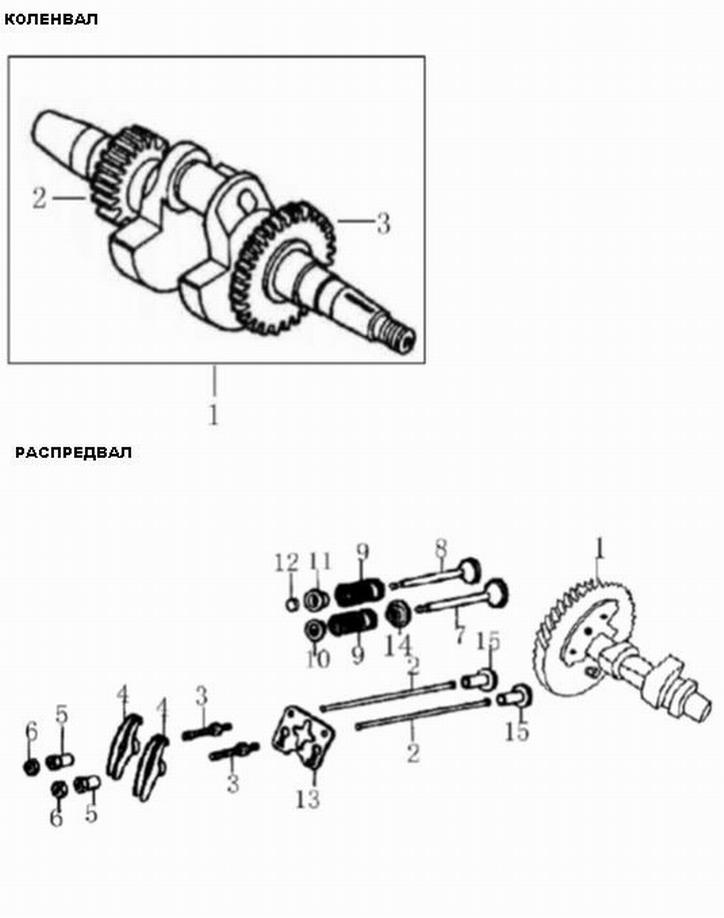 Деталировка на коленвал и распредвал генератора WATT WT-2500 (9.025.015.00)