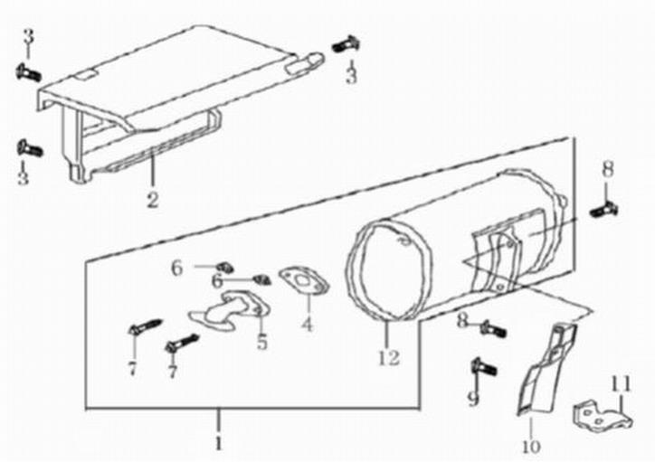 Деталировка на глушитель генератора WATT WT-2500 (9.025.015.00)