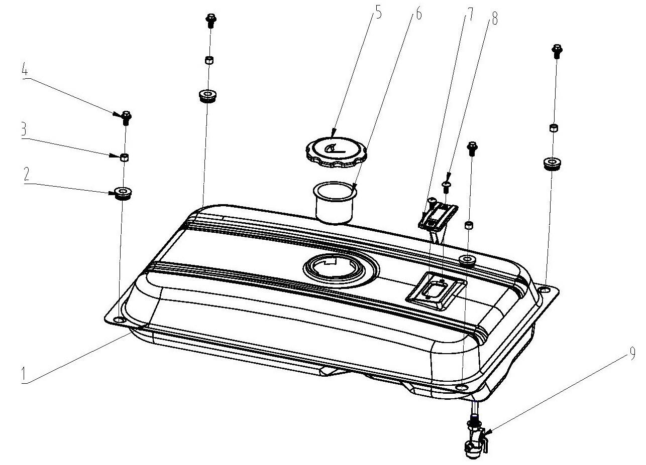 Деталировка на топливный бак генератора WATT WT-3000 (9.030.015.00)