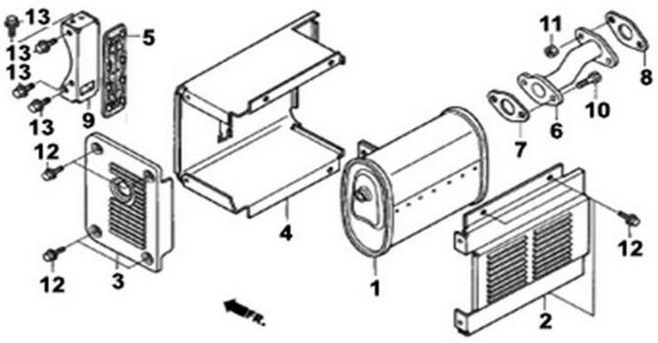 Деталировка на глушитель генератора WATT WT-3200 (9.032.015.00)