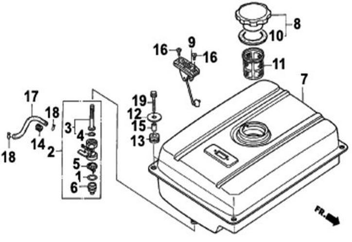 Деталировка на топливный бак генератора WATT WT-3200 (9.032.015.00)