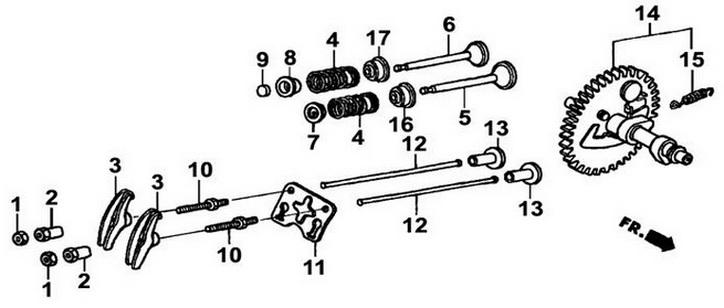 Деталировка на распредвал, клапана генератора WATT WT-3200 (9.032.015.00)