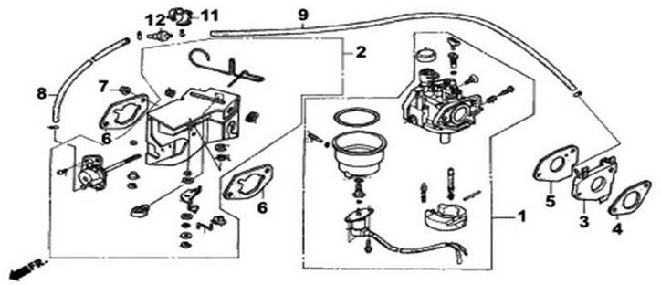 Деталировка на карбюратор генератора WATT WT-3200 (9.032.015.00)