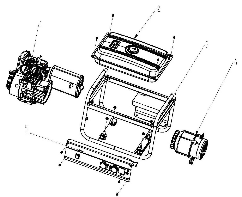 Деталировка на узлы в сборе генератора WATT WT-4000 (9.040.015.00)