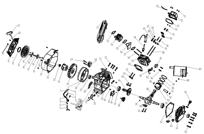 Деталировка на бензиновый двигатель генератора WATT WT-4000 (9.040.015.00)