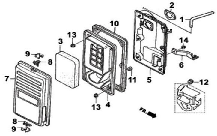 Деталировка на воздушный фильтр генератора WATT WT-5500 (9.055.025.00)