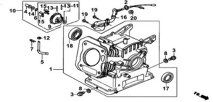Деталировка на голову цилиндра, картер генератора WATT WT-5500 (9.055.025.00)