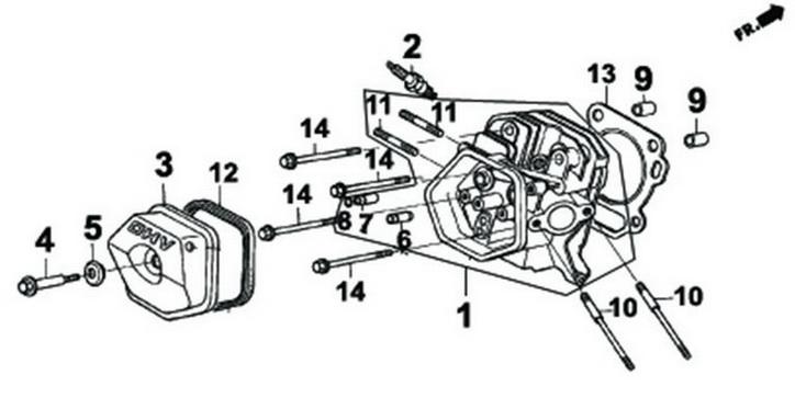Деталировка на крышку клапанов генератора WATT WT-7000 (9.070.025.01)