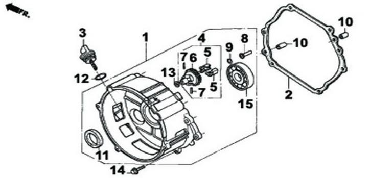 Деталировка на крышку картера генератора WATT WT-7000 (9.070.025.01)