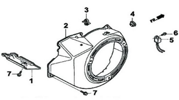 Деталировка на крышку стартера генератора WATT WT-7000 (9.070.025.01)