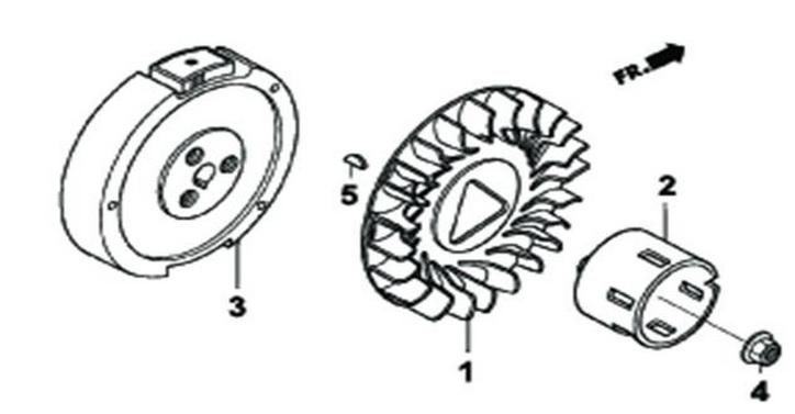 Деталировка на маховик генератора WATT WT-7000 (9.070.025.01)