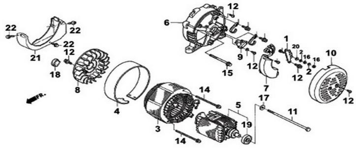 Деталировка на электрическую часть (ротор, статор) генератора WATT WT-7000 (9.070.025.01)