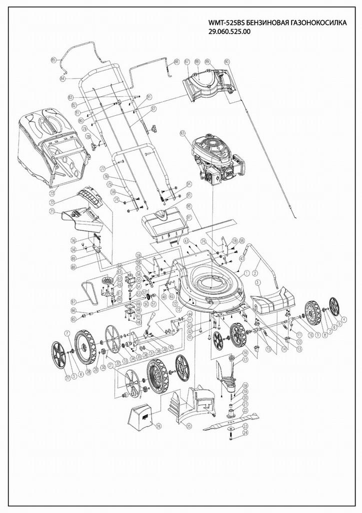 Деталировка на бензиновую газонокосилку WATT WLM-525 (29.060.525.00)