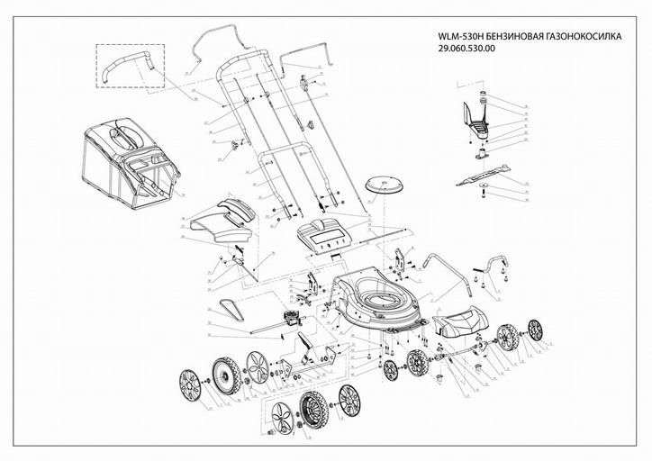 Деталировка на бензиновую газонокосилку WATT WLM-530 (29.060.530.00)