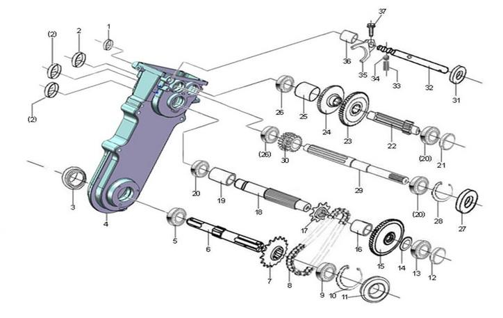 Деталировка на редуктор культиватора WATT WST-900 (23.065.900.00)