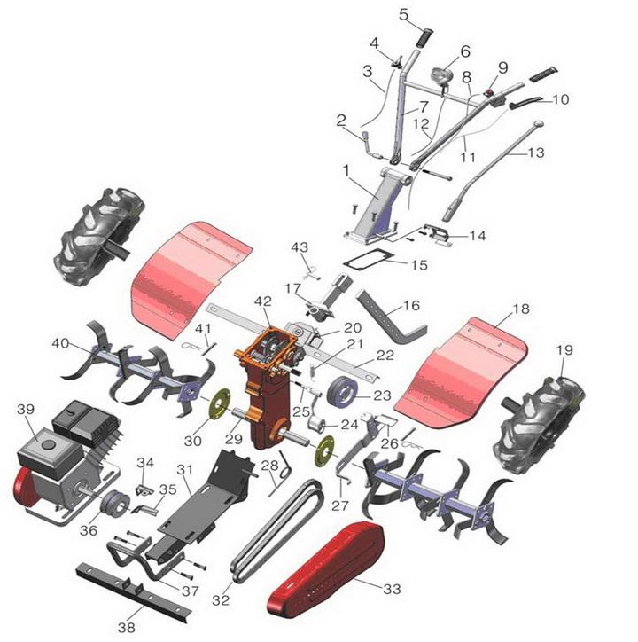 Деталировка на навесное оборудование культиватора WATT WST-900 (23.065.900.00)