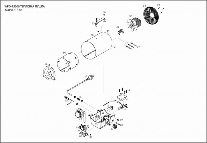 Деталировка на тепловую пушку WATT WPD-15000 (24.050.015.00)
