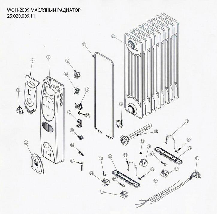Деталировка на масляный радиатор WATT WOH-2009 (24.020.009.11)