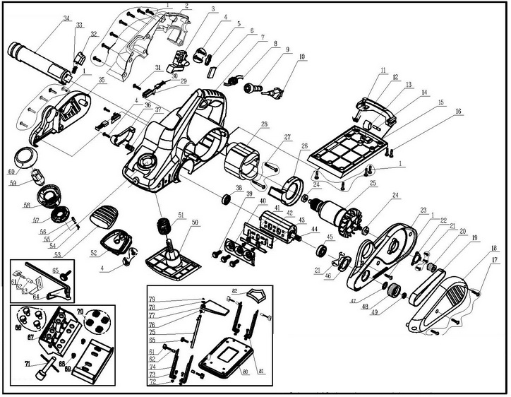 Деталировка на рубанок WATT WEH-950 (3.140.110.00)