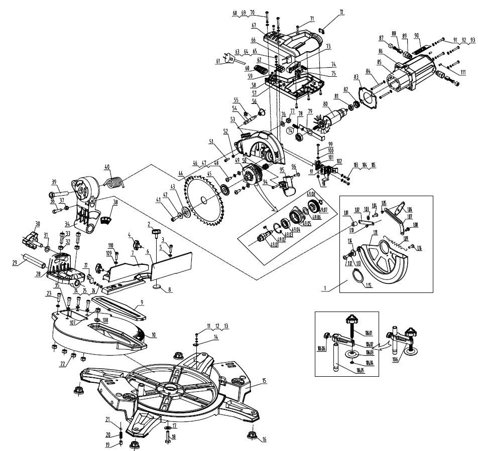 Деталировка на торцовочную пилу WATT WMS-210 (2018) (20.012.210.00)
