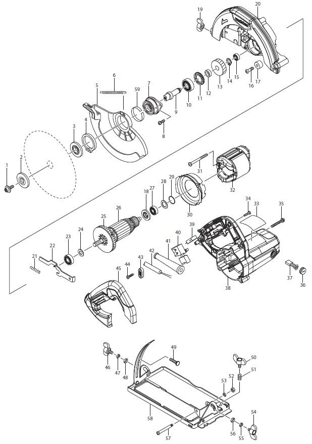 Деталировка на циркулярную пилу WATT WHS-1300 (2018) (6.013.185.00)