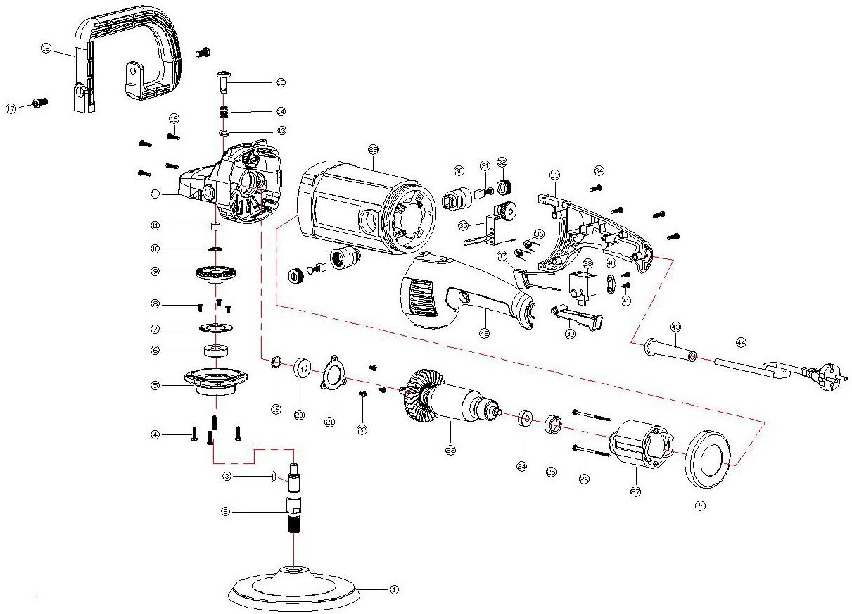 Деталировка на угловую полировальную машину WATT WAP-1400 (4.014.180.20)