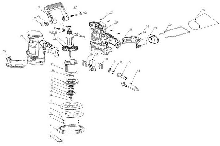 Деталировка на эксцентриковую шлифовальную машину WATT WES-125 (4.430.125.00)
